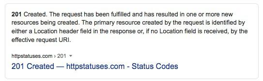 201 http status code