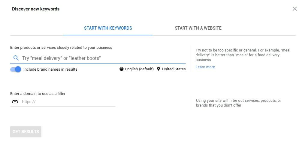 An example of how Google Ads Keyword Planner works