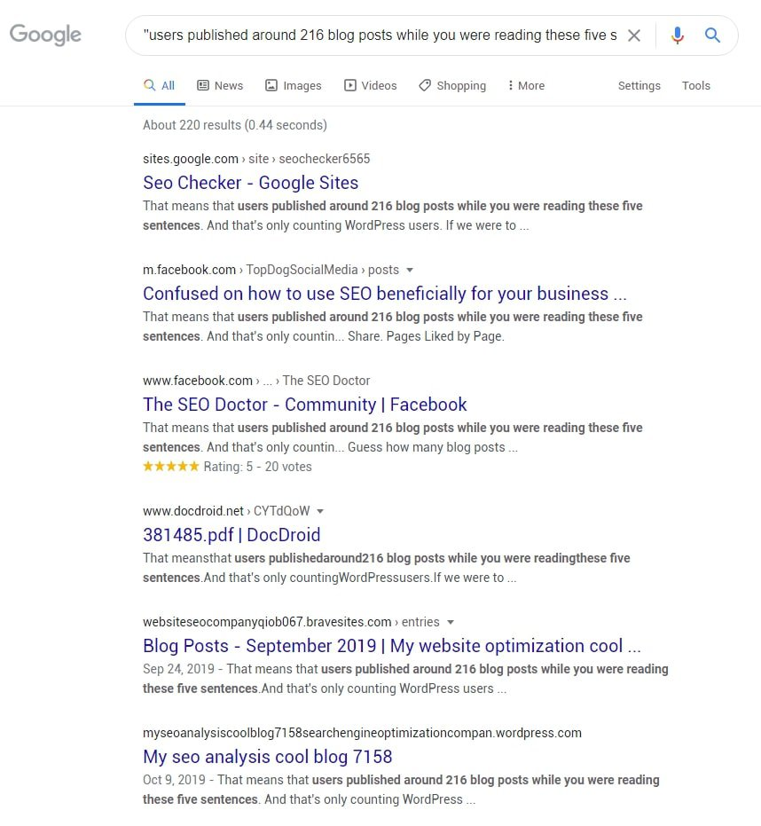 An example of how to check in Google if your content has been copied without attribution