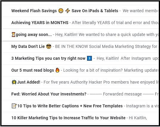 Sample copy of using emojis in subject lines