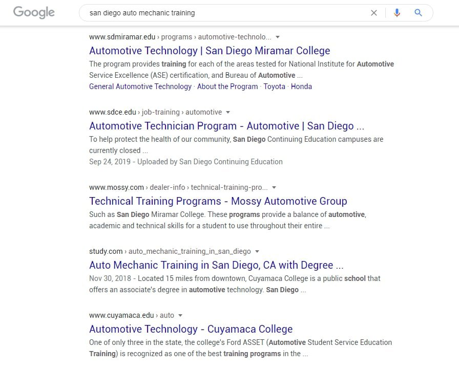 """Google search results for """"san diego auto mechanic training"""""""