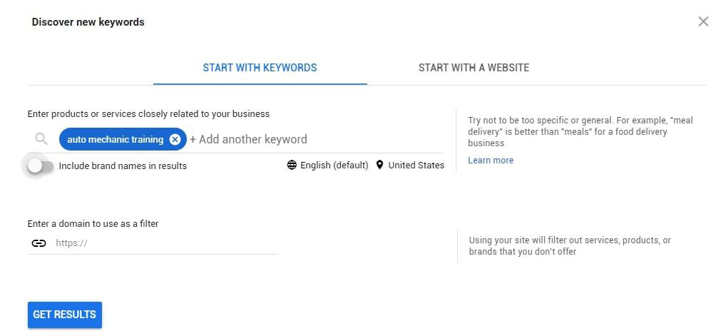 Sample of how to use Google Keyword Planner