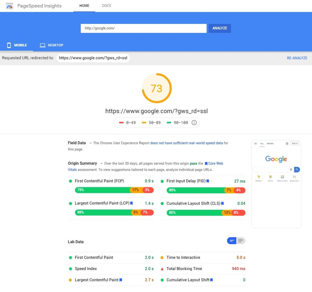 PageSpeed insights website overview