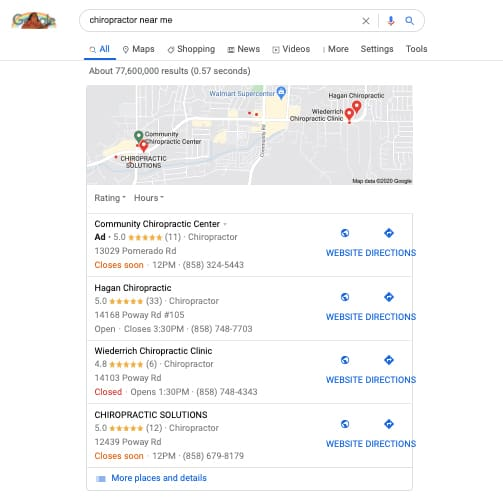 Map pack results in Google for chiropractor near me