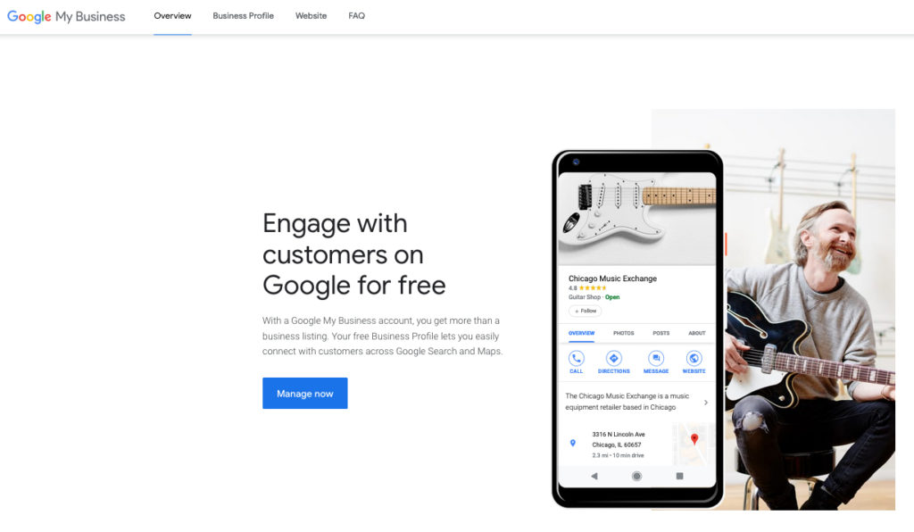Google My Business homepage to signup