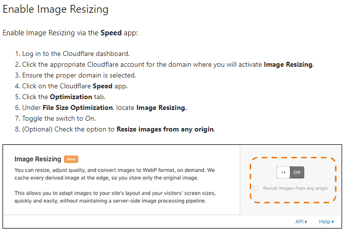 Enabling image resizing on CloudFlare