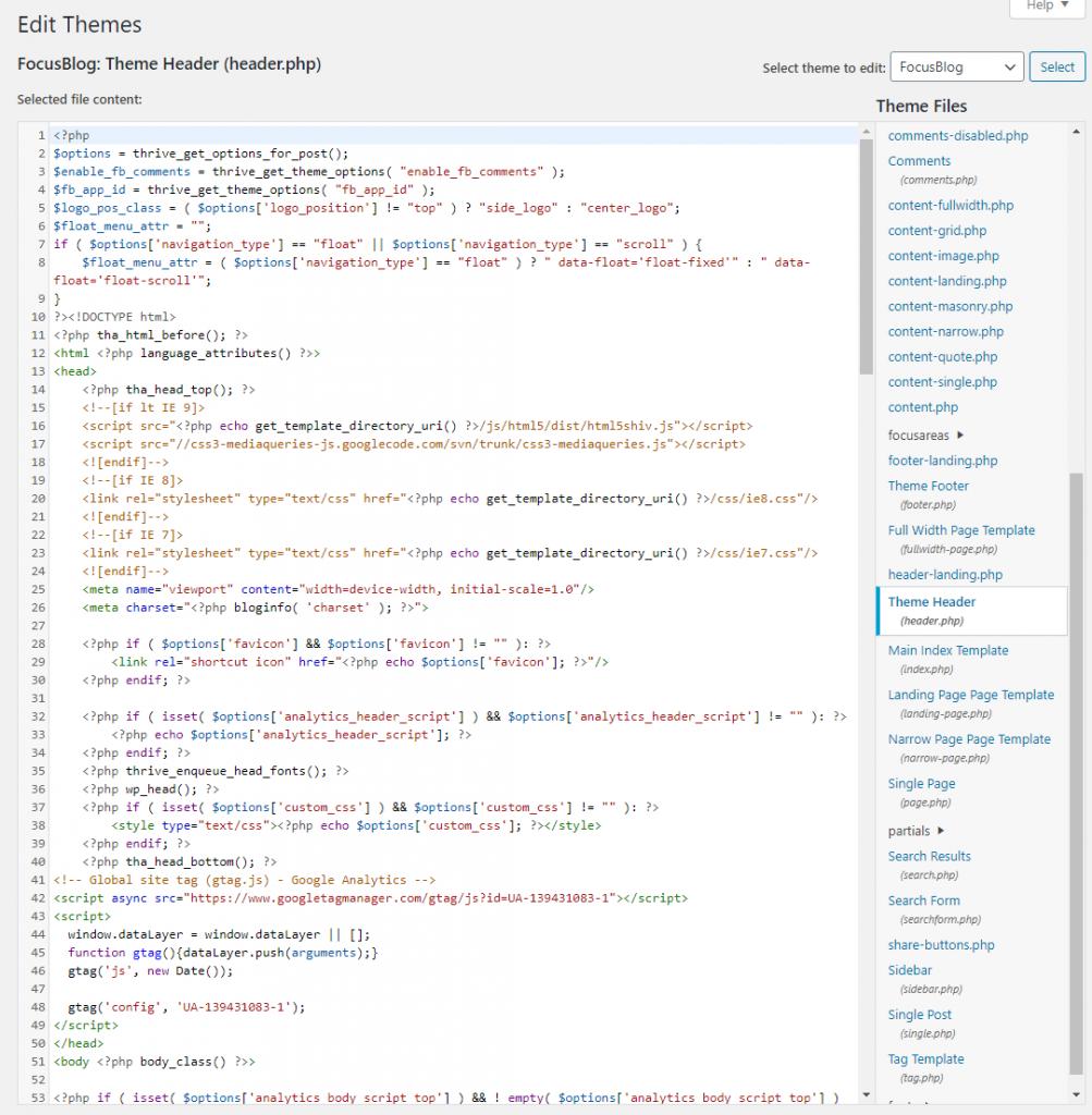 Wordpress theme header html being edited