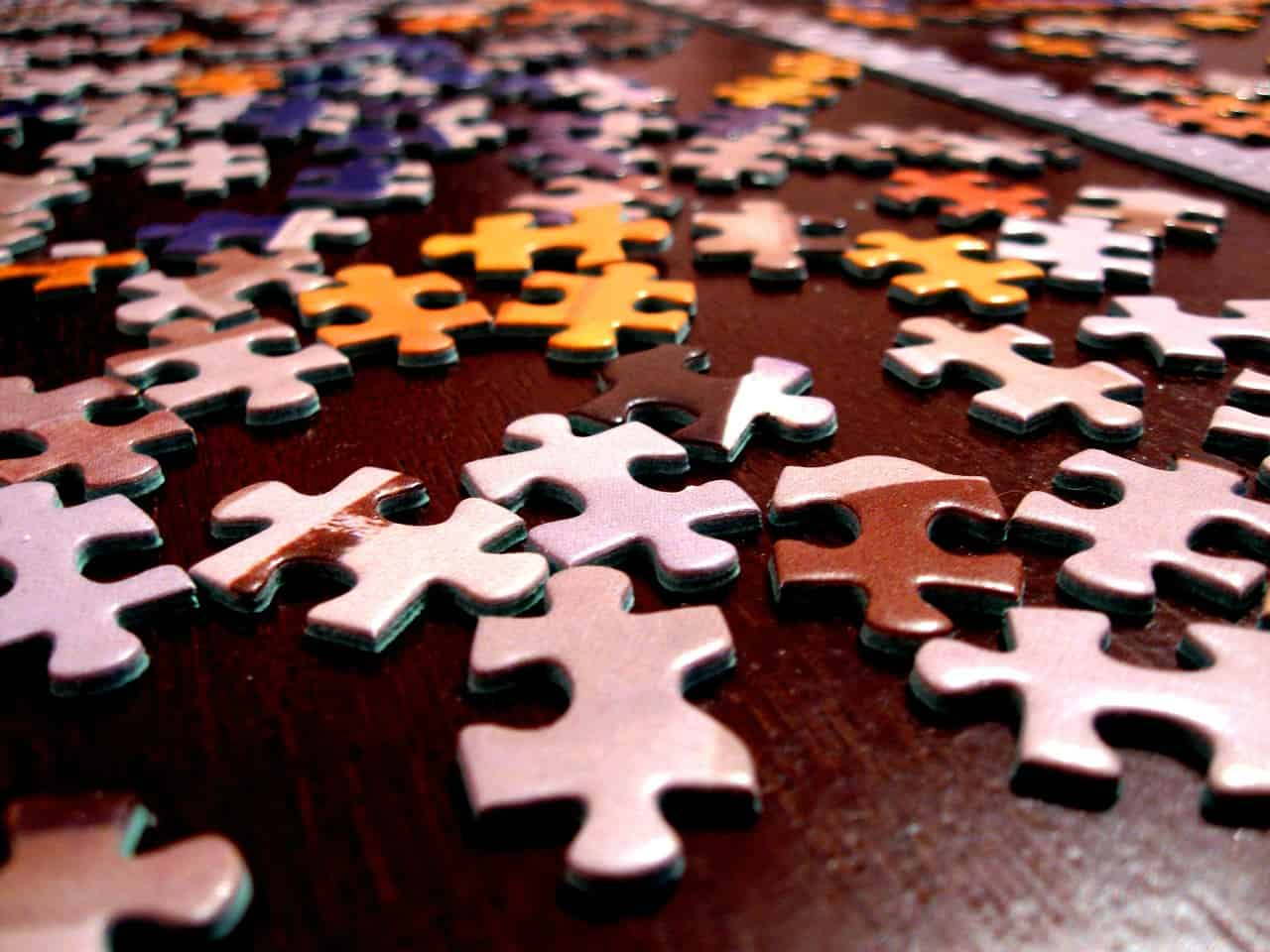 Puzzle pieces lying on a table