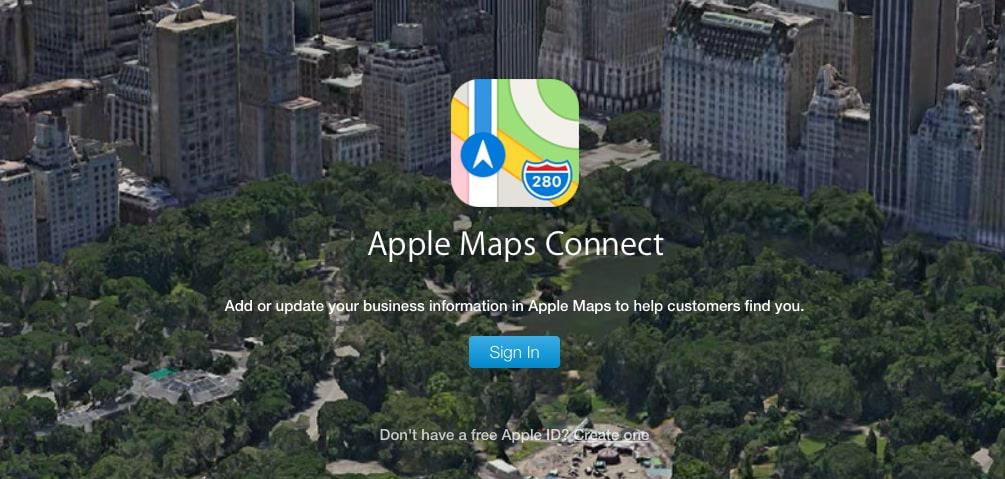 Apple Maps sign in page