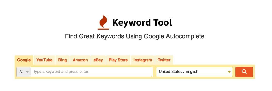 Homepage of keywordtool.io