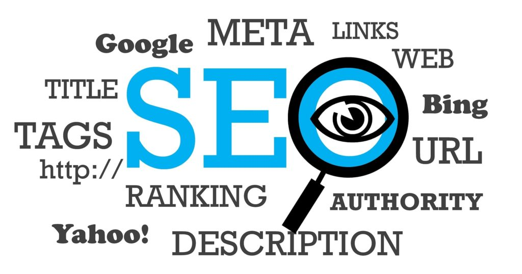 Illustration of various SEO tools and elements