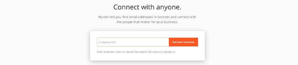 Webpage of Hunter.io