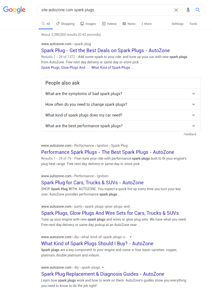 Screenshot for the search results for different spark plug related results and the different categories they are located in