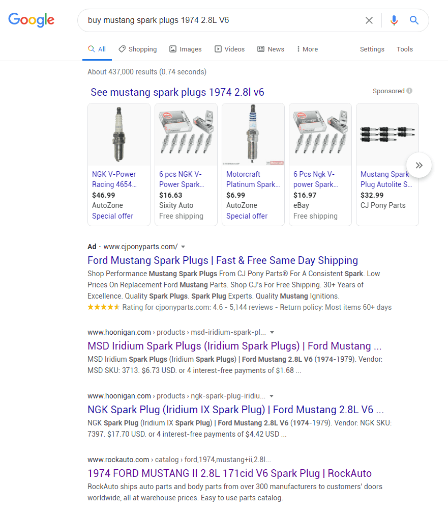 "Search results for ""buy mustang spark plugs 1974 2.8L"""