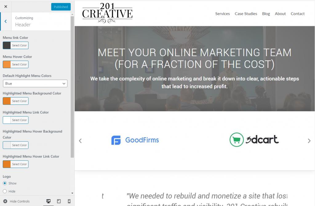 201 Creative WordPress Theme