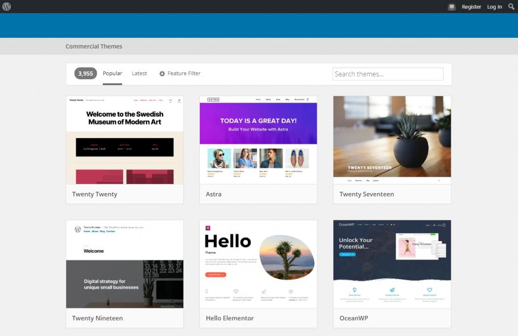 WordPress Commercial Theme Selection