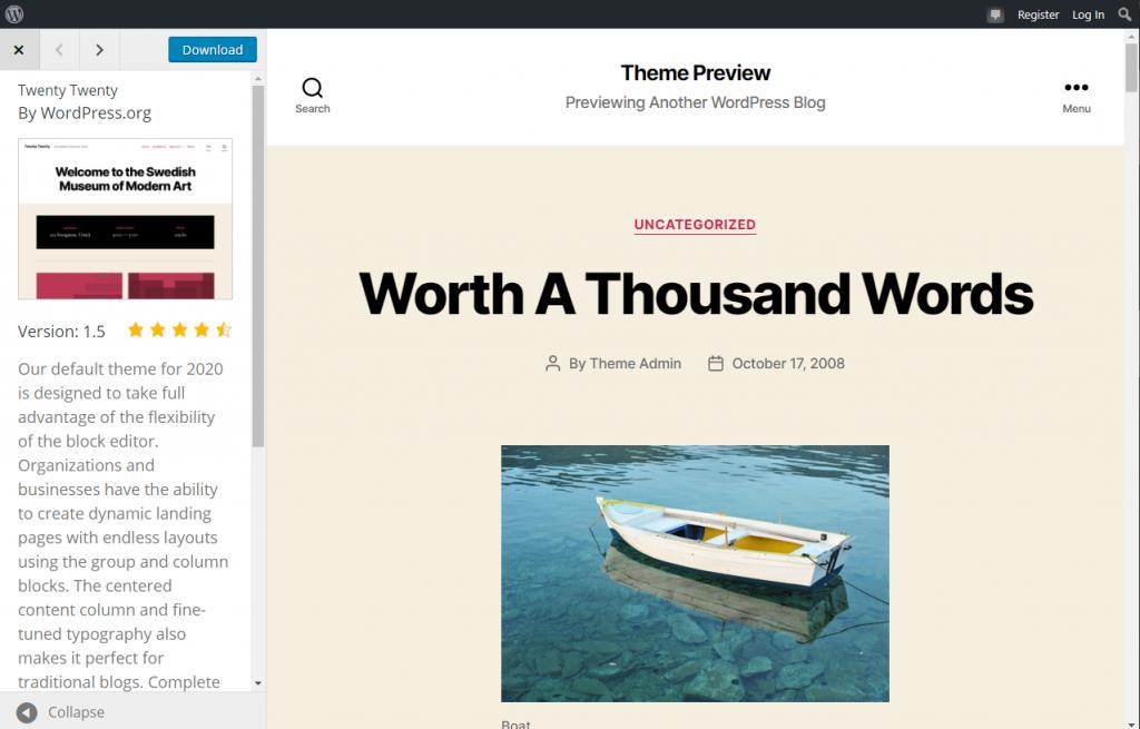 Twenty Twenty WordPress Theme Preview